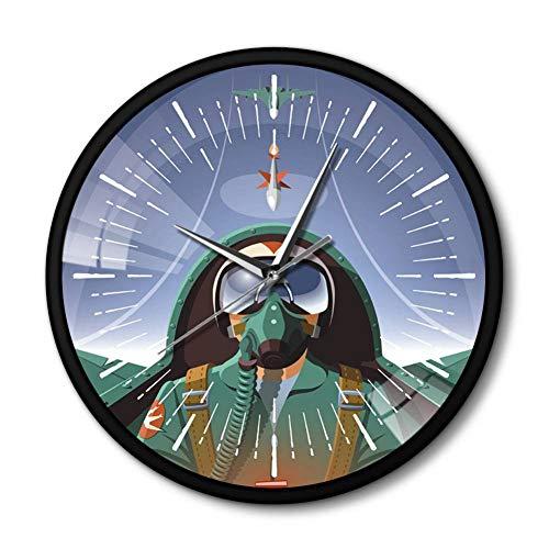FXCWW Piloto Militar En Cabina De Avión Reloj De Pared De Avión con Marco De Metal Negro El Avión Volador Jet Aviator Arte De Pared Reloj Reloj