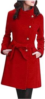 Leewa Womens Coats Wool Coat Womens Elegant Long Wrap-Around Coat Winter Stand-up Collar Coat Camel Belt Wrap Jacket Coats Parka