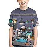 Camiseta de manga corta para niño con historias de arte de la vida para niños, Negro, 16- 18 años