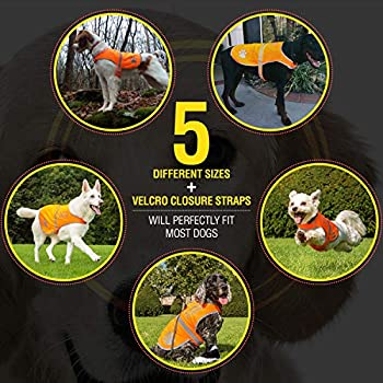 Gilet de Sécurité Réfléchissant pour Chien, 5 tailles, Haute visibilité, activités à l'extérieur de jour et de nuit. Votre chien est visible pour empêcher les accidents de voiture ou de chasse