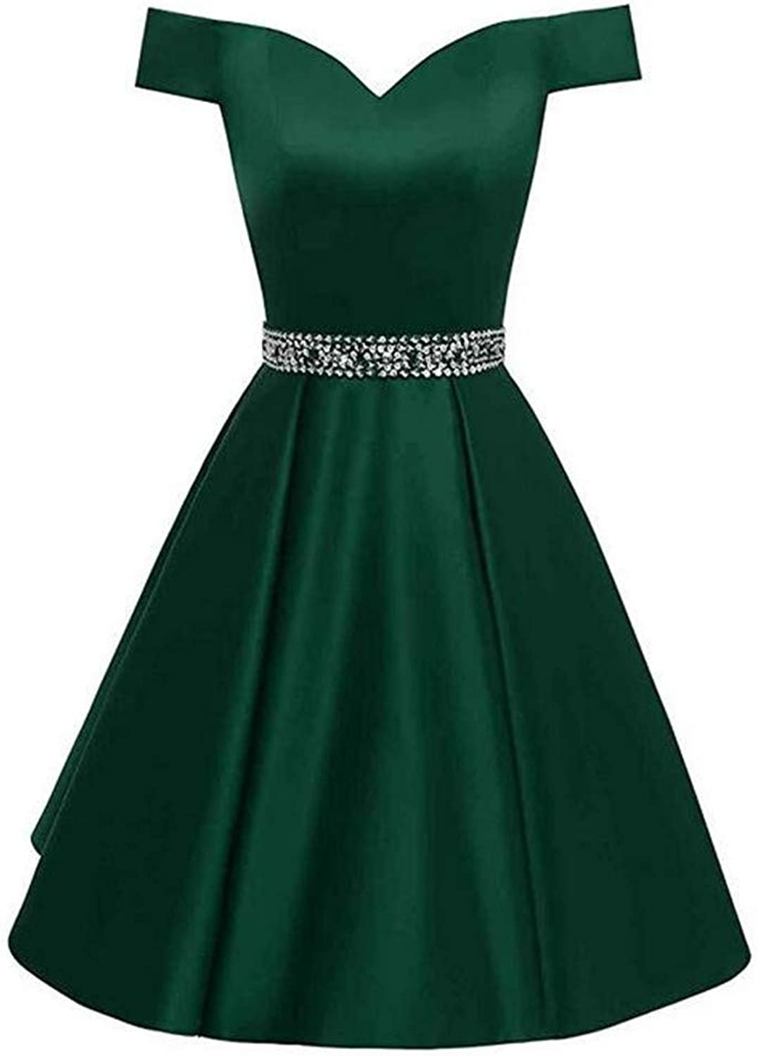 Emmani Women's V Neck Solid Beaded Short Prom Dresses Lace Up Back Homecoming Party Dress
