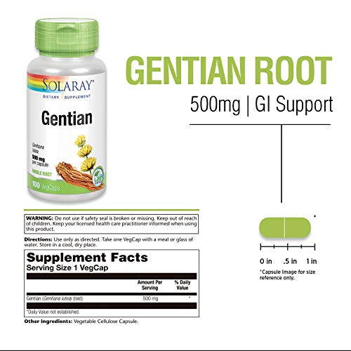 Solaray Gentian Root 500 mg | Healthy Gastrointestinal Wellness & Overall Liver Support | 100 VegCaps