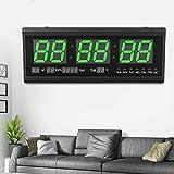 Orologio da parete digitale a LED con calendario, data, temperatura, soggiorno, visualizzazione 24 ore, per studio, luogo pubblico, ufficio, 48 x 19 cm (verde)