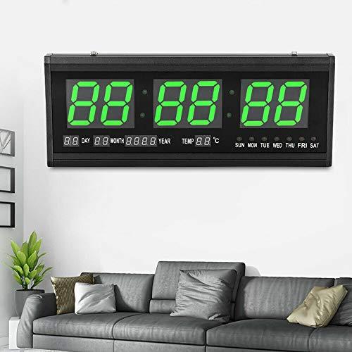 LED Wanduhr Digital Uhr Kalender Datum Temperatur Wohnzimmer Uhr 24-Stunden-Anzeige (Grün)