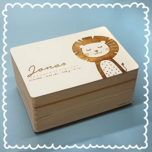 Personalisierte Erinnerungsbox Box Aufbewahrungsbox Erinnerungskiste mit Namen Holzkiste für Kinder Geschenkbox Geschenkidee für Jungs Mädchen Löwe Weihnachten Geburtstagsgeschenk hellomini
