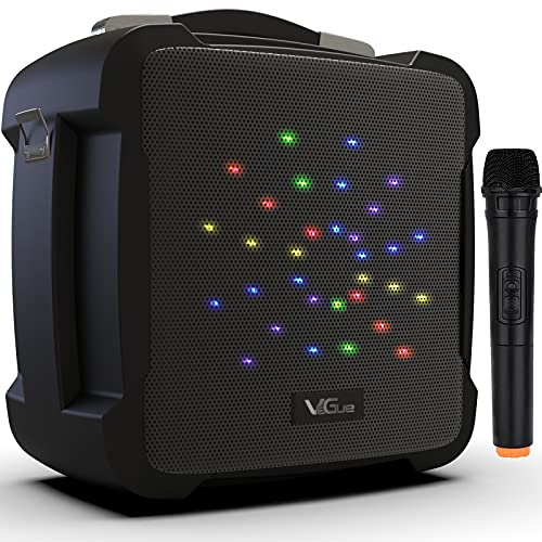 Portable Karaoke Machine, VeGue Bluetooth Speaker with Wireless Microphone, Powerful PA System with LED Lights, Remote Control, ECHO Effect, Supports TF Card/USB, Ideal for Kids & Adults Family Pa...