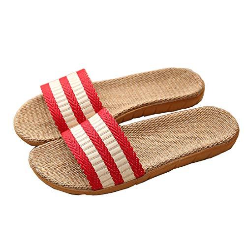 Zapatillas para Mujer Hombre Unisex Zapatillas de Estar por Casa de Lino Interior Sandalias de Playa Verano Primavera Otoño(Rojo,39-40)