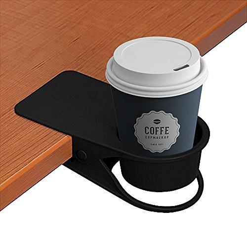 Trinkbecher-Halterung mit Klemme –für Zuhause, Auto, Büro, Tisch, Schreibtisch, Stuhl, Trinkbecher-Halterung für Wasser, Getränke, Limo, Kaffeetasse Schwarz