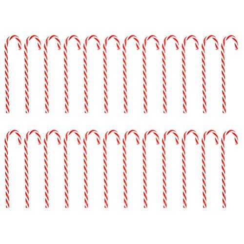 LIOOBO 30 Piezas Colgantes de Navidad de Muletas Bastones de Caramelo Adorno de Árbol de Navidad Accesorio Decoración de Navidad