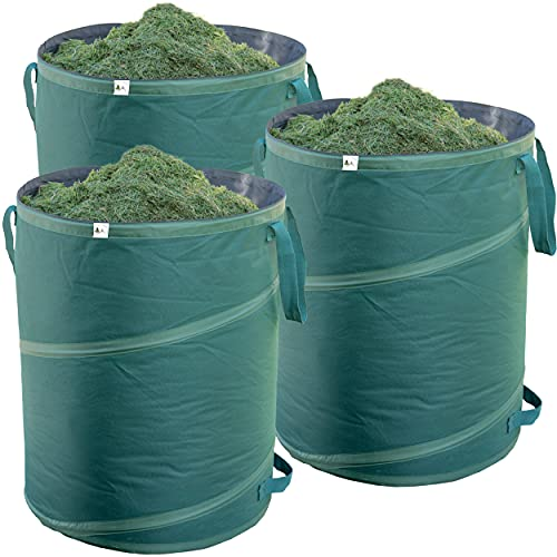 TTL Garden Premium Pop Up Gartenlaubsack 3er Set 160L, extra robustes Gewebe – Laubsack, Abfallsack für Gartenabfälle, Gartensack, selbststehend zusammenfaltbar