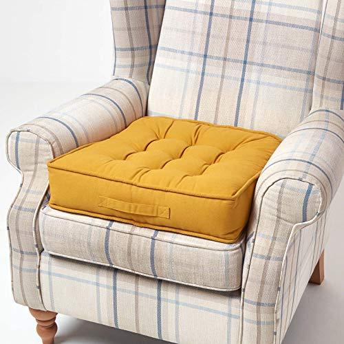 Homescapes großes Sitzkissen 50 x 50 cm, senfgelb, Sitzpolster für Sessel und Sofas mit Tragegriff und Baumwollbezug, gepolstertes Matratzenkissen, 10 cm hoch