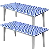 2 Pieces Checkered Vinyl Table Cover for 72 x 30 Inch Tables Gingham Picnic Fitted Tablecloth Flannel Backed Lining Stretched Rectangle Table Cover Elastic Oilproof Waterproof Tablecloth (Blue White)
