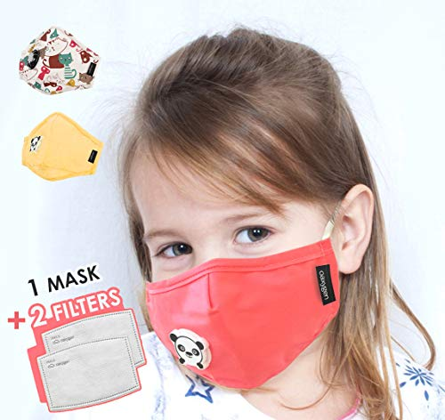 OAXYGEN Daily Face Mouth Adjustable Cover for Kids Boys Girls with 2 Replacement Filters | Breathable, Windproof Washable Cotton Mask Protection - 1 MASK+2 REPLACEMENT FILTERS - PINK