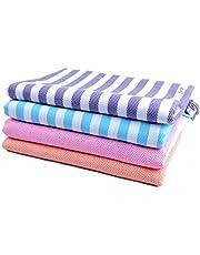 Sathiyas 480 GSM 4 Piece Bath Cotton Towel (Blue, Lavender, Pink, Orange)