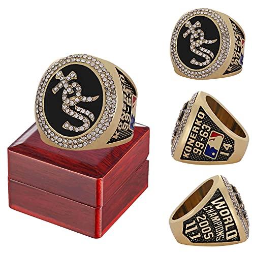 2005 Louis Cardinals Championship Ring Réplica de la versión oficial con caja de madera Anillo de aleación para hombres para regalo de colección de fanáticos del béisbol