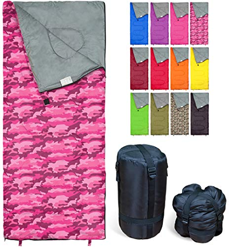 REVALCAMP Lightweight Pink-Camo Sleeping Bag Indoor & Outdoor use. Great for Kids, Youth & Adults. Ultralight and Compact Bags are Perfect for Hiking, Backpacking, Camping & Travel.
