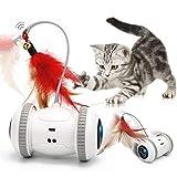 GILOBABY 猫 おもちゃ 猫じゃらし ねこじゃらし 自動 ストレス解消 運動不足解消 天然鳥の羽棒鈴付き 電動 自動回転ボール LEDライト付き USB充電式 猫のおもちゃ 猫 蹴り おもちゃ ネコ おもちゃ 安全素材