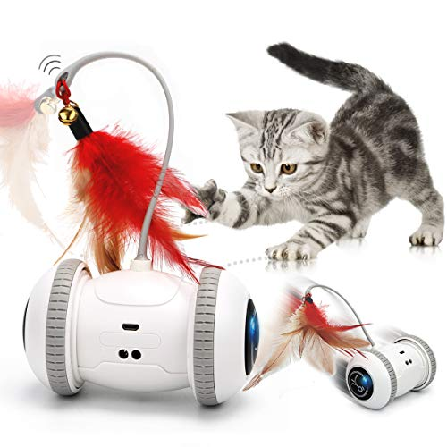 GILOBABY 猫 おもちゃ 自動 ストレス解消 運動不足解消 天然鳥の羽棒鈴付き 電動 自動回転ボール LEDライト付き USB充電式 猫のおもちゃ 猫 蹴り おもちゃ ネコ おもちゃ 安全素材