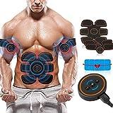 Aparato de entrenamiento EMS estimulador muscular, cinturón eléctrico, estimulador muscular abdominal, dispositivo de fitness con 6 modos y 10 intensidades, recargable por USB