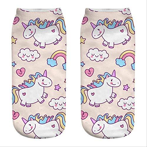 DYGZS Chaussettes d'hiver Calcetines divertidos y bonitos con estampado 3D de alimentos blancos con carácter de nutella, calcetines unisex con dibujos animados de gato y unicornio
