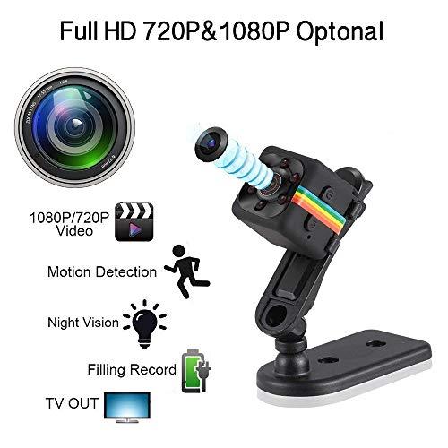 HD 1080P Mini Kamera mit Bewegungserkennung und Infrarot Nachtsicht versteckte Kamera,integrierter Akku – Loop Aufnahmefunktion - microSD-Kartenslot – Überwachungskamera - Spycamera (Schwarz)