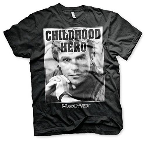 MacGyver Offizielles Lizenzprodukt Childhood Hero T-Shirt (Schwarz), Large