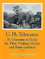 TELEMANN - Trio Sonata en Re Mayor (TWV:42/d17) para Flauta, Violin y BC (Partitura/Partes)