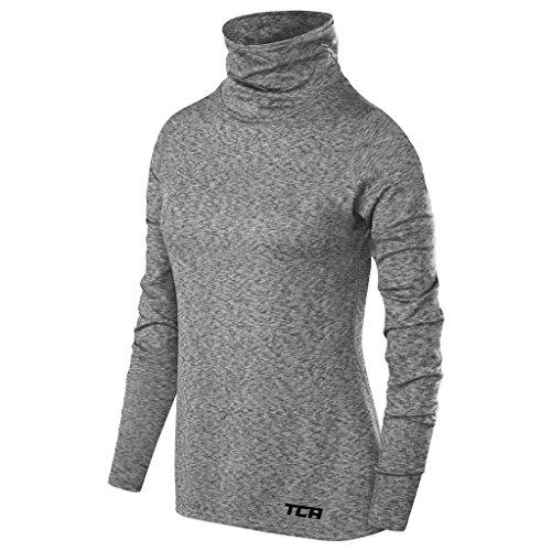 TCA Warm-up Damen Thermo-Laufshirt mit Rollkragen - Langarm - Hellgrau, XS