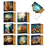 Spooky Pumpkins - 10 Assorted Happy Halloween Cards with Envelopes (4 x 5.12 Inch) - Scary Haunted Forests, Boxed Note Cards MQ4962HWG-B1x10