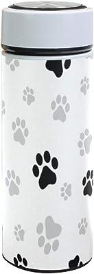 FengJu 水筒 350ml Paw Prints 爪柄 猫柄 犬柄 ステンレス製 真空断熱 保冷保温 軽量 漏れ防止 真空断熱 遠足 直飲み おしゃれ プレゼント 個性的