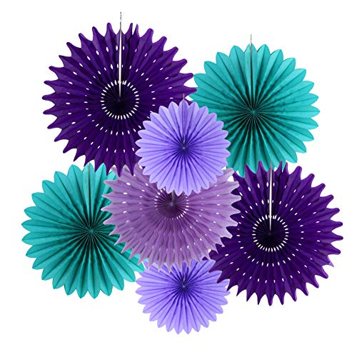 7Pcs Teal Purple Lavender Tissue Paper Fans Mermaid Birthday Under The Sea Party Little Girl Baby Shower Decorations (Purple Teal)