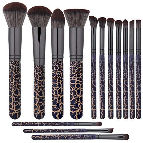 Pinceau de Maquillage 14pcs pinceaux de Maquillage Kabuki de qualité supérieure avec étui pour Sac de Maquillage de Voyage coupé pour Les Yeux, Inclus