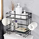 Bathroom Over The Toilet Storage Shelf, 2-Tier Black Iron Bathroom Organizer with Hanging Hook & Adhesive Base & Toilet Paper Hanger, No Drilling Space Saver with Wall Mounting Design