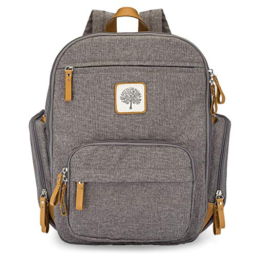 Parker Baby Diaper Backpack - Full Zip Diaper Bag with Insulated Pockets - Gray
