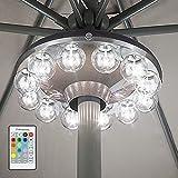 HONWELL Ombrello Luce con Lampadina Trasparente, Luce del patio a batteria con telecomando RF, 12 colori che cambiano la luce dell'ombrellone per esterni, ombrellone, tende da campeggio