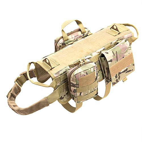 Petvins Tactical Dog Molle Vest Harness K9 Adjustable Outdoor Training Service Camouflage Harness with 3 Detachable Pouches Camouflage Size XL