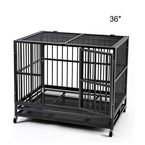 HYD-Parts 48' Pet Dog Crate for Large Dog, Heavy Duty Foldable Strong Metal Dog Kennel Playpen w/Wheels&Tray