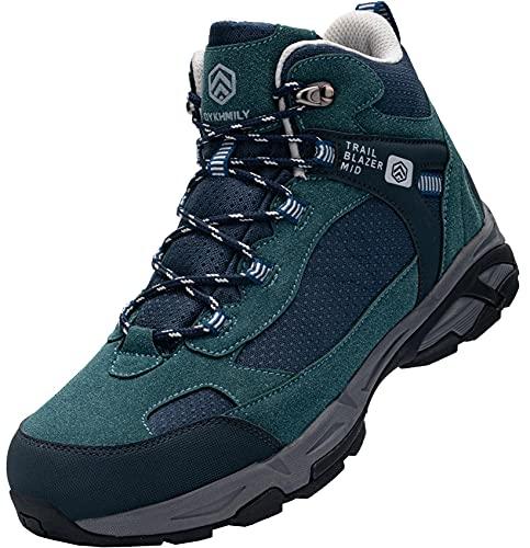 DURA-ANTISKID Botas de Seguridad Punta compuesta Hombre Zapatos de Seguridad SRC S1P Botas de Trabajo (Azul Verde,42EU)