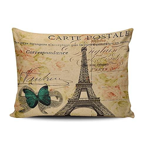 N A - Fundas de almohada decorativas rectangulares personalizables para bicicleta (30,5 x 40,6 cm), diseño de torre Eiffel de París