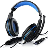 CSL - PC Headset inkl. Mikrofon - Gaming Kopfhörer inkl. Kabelfernbedienung - Kabelfernbedienung Media Control Mikrofon - für Gaming, Musik, Chat, Internet Telefonie
