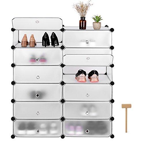 Homfa Schuhschrank DIY Schrank Schuhregal Schuhablage Regale 12 Flächer weiß Mit Türen 122,5x95x38,5cm