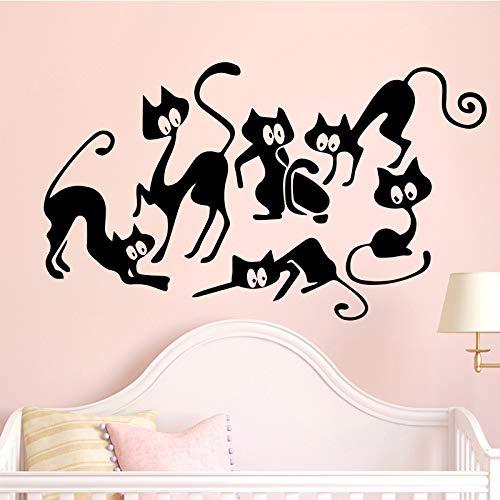 Dibujos Animados Gato Pegatinas de Pared decoración del hogar Pegatinas de Pared decoración del hogar Sala de Estar Dormitorio DIY Pegatinas de Pared Negro L 43cm X 25cm