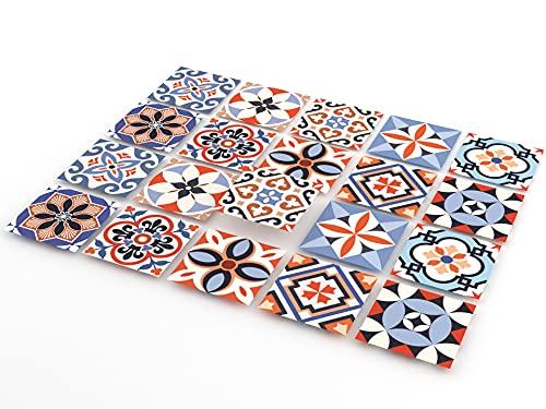 Tink Selbstklebende Fliesenaufkleber   Kunststoff-Folien für Küche und Bad, für Böden, Treppen und Holzoberflächen   Absolut Optimale Folienstärke von 0,7 mm (Mexico, 10x10 cm // 20 Stück)