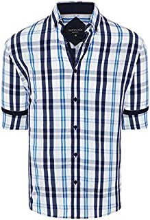 Tarocash Men's Rayner Slim Stretch Check Shirt Slim Fit Long Sleeve Sizes XS-5XL for Going Out Smart Occasionwear
