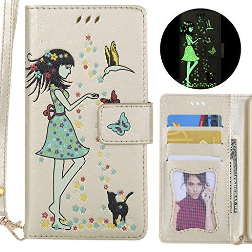 Ougger telefoonhoesje voor LG K3 (K100) hoes, bling ontwerp tas leer beschermhoesje bumper schaal zacht tas magneet silicone zakje flip cover met kaartsleuf, goud