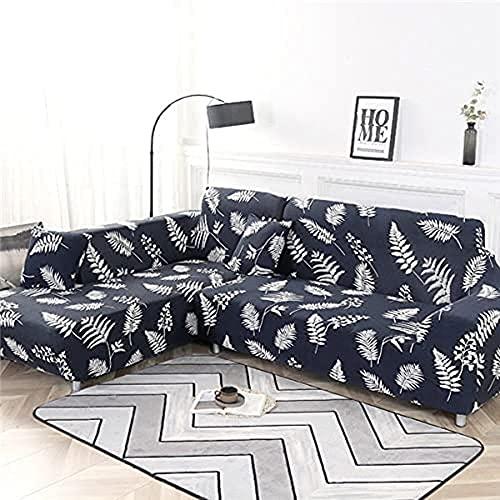 POPXP Fundas de sofá elásticas geométricas para sofá de 1 2 3 4 plazas, fundas elásticas para sofá en forma de L, fundas de sofá de esquina seccional Chaise longue A12 4 plazas lavable