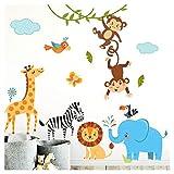 Little Deco Piccoli Immagini per Bambini Animali della Giungla I M - 120 x 86 cm (LxA) I Bambini Tatuaggio murale Camera per Ragazzo Deco Bambino Adesivi murali Ragazzi DL204