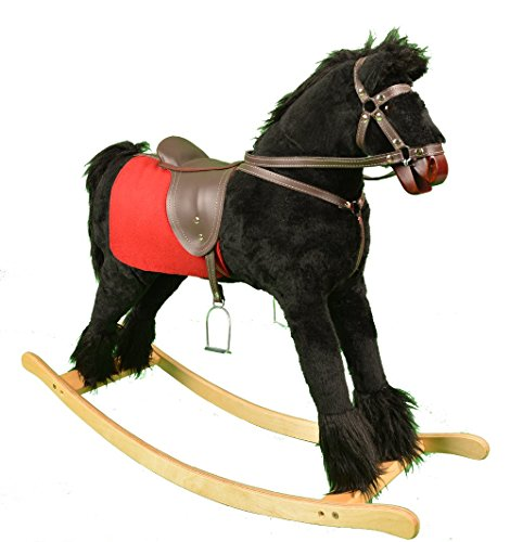 Mini Kids BLACKY Cheval à Bascule en Bois et Peluche Rocking Horse