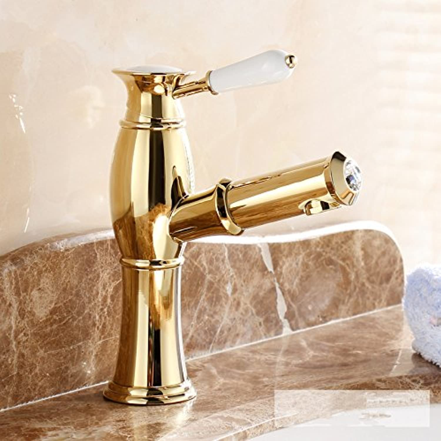 Bijjaladeva Antique Bathroom Sink Vessel Faucet Basin Mixer Tap Pull basin faucet hot and cold gold