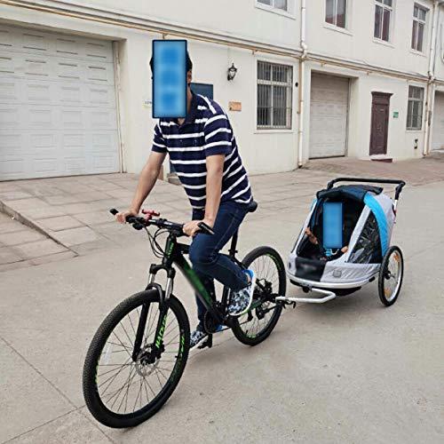 QQLOV 2 Seater Children's Bicycle Stroller Trailer 2 in 1 Trailer Buggy Jogger Aluminum Alloy Frame Folding/adjusting Child Trailer Transport (blue Gray)
